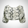 Stylish Half Sleeve Snake Patterned Crop Top