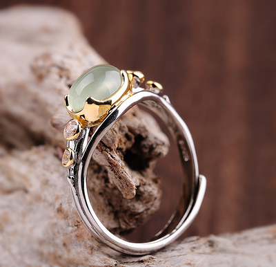 SILVER NATURAL PREHNITE HANDMADE CRAFT RING