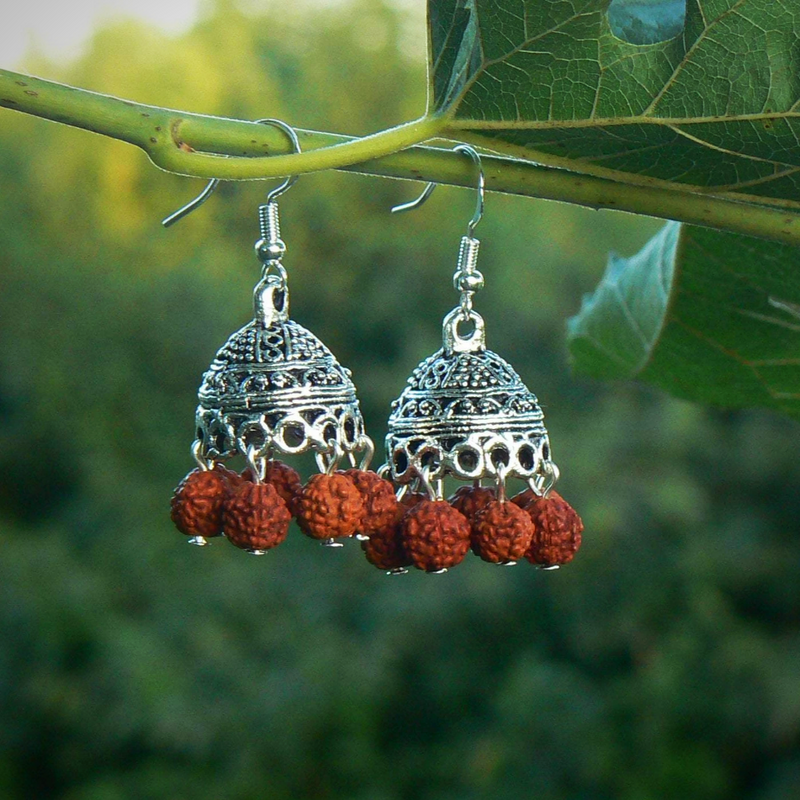 Ethnic Rudraksha beaded Jhumka earring