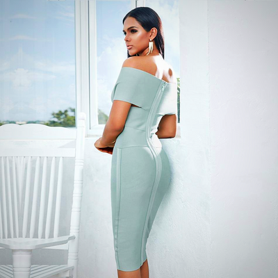 SHORT SLEEVE MIDI BODYCON PARTY DRESS