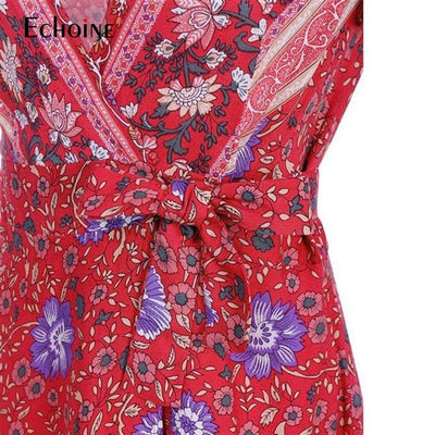 Casual Boho Floral Patterned Midi Dress