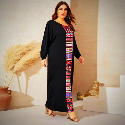 PLUS SIZE TRIBAL PRINT MAXI DRESS