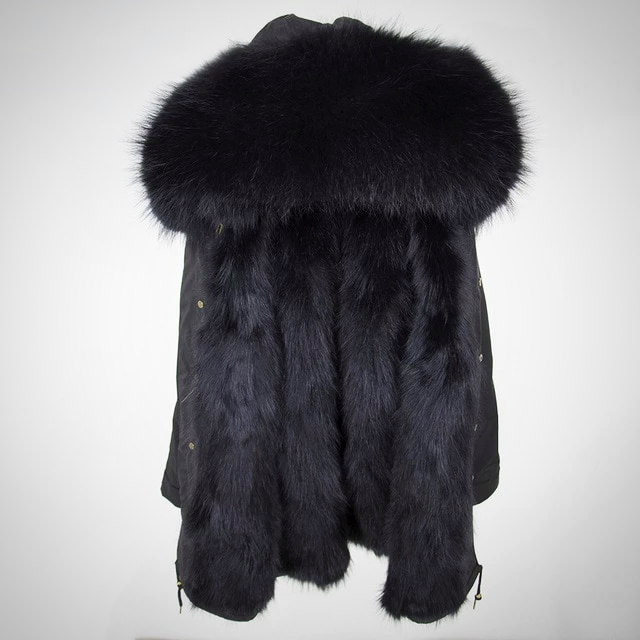 PARKA NATURAL RACCOON FUR COAT