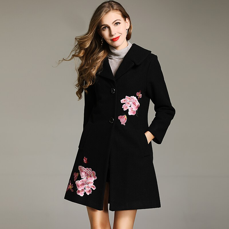 Plus Size Vintage  Solid floral Patterned Coat