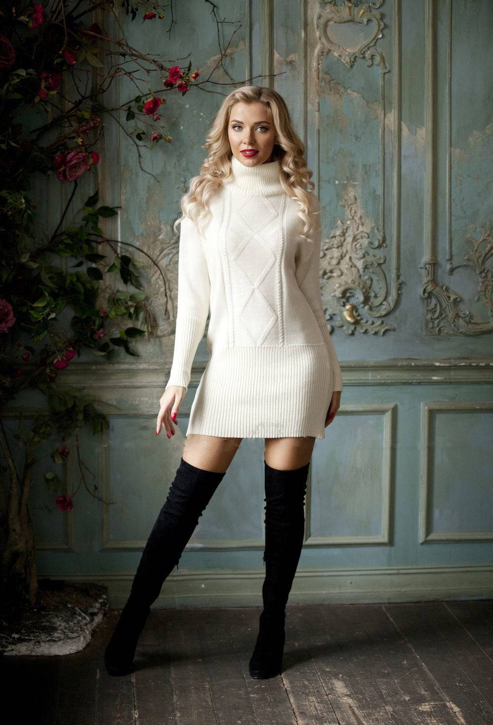 OVERSIZE COMFORTABLE SWEATER DRESS
