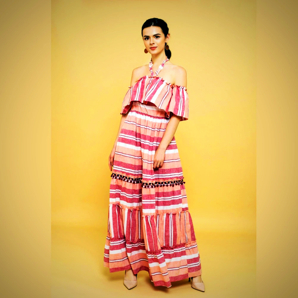 Multicolored Off Shoulder Maxi Dress