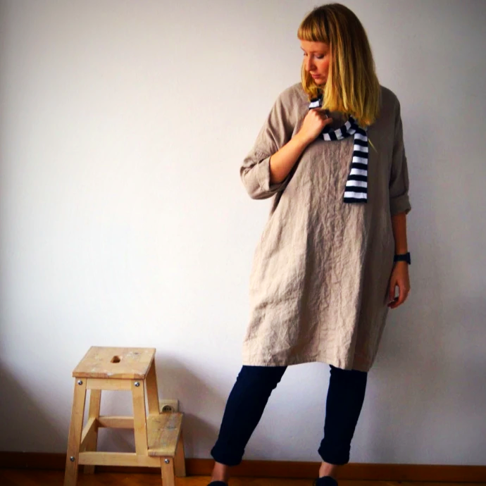 Plus size linen tunic dress