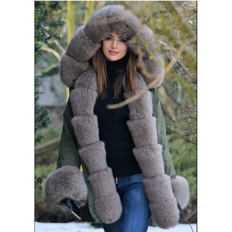 Stylish Plus Size Thick Fox Fur Parka Winter Jacket
