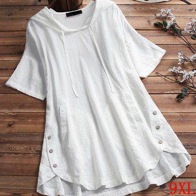 Summer short sleeved white hooded top
