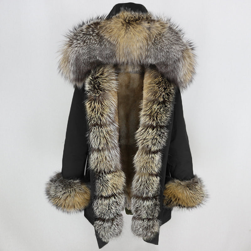 Casual Long Sleeve Fox Fur Parka Coat