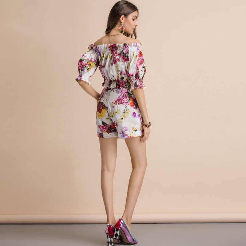 Lantern Sleeve Floral Print Shorts &Top