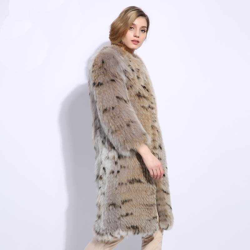 Stylish  One size natural fox fur  Pullover Winter Coat