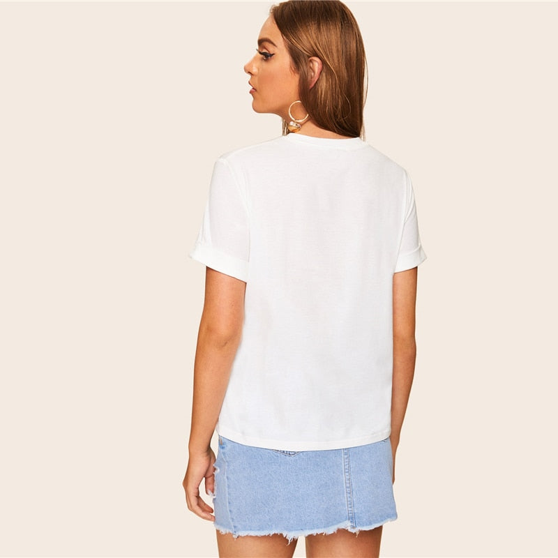 Casual White Embroidered Round Neck T Shirt