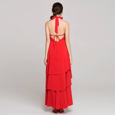 Red Backless Off Shoulder Cocktail Dress
