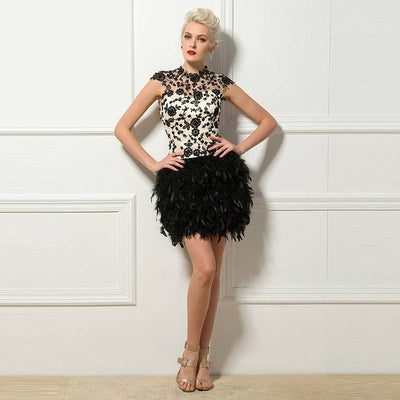 Black Feathered Cocktail Dress