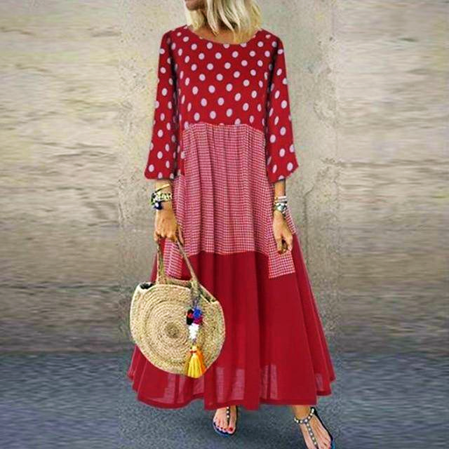 CASUAL VINTAGE PATCHWORK DOT LONG DRESS