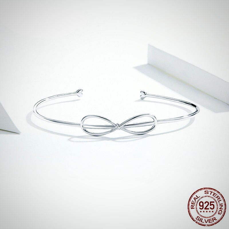 SILVER MINIMALIST SIMPLE BOWKNOT OPEN BANGLE