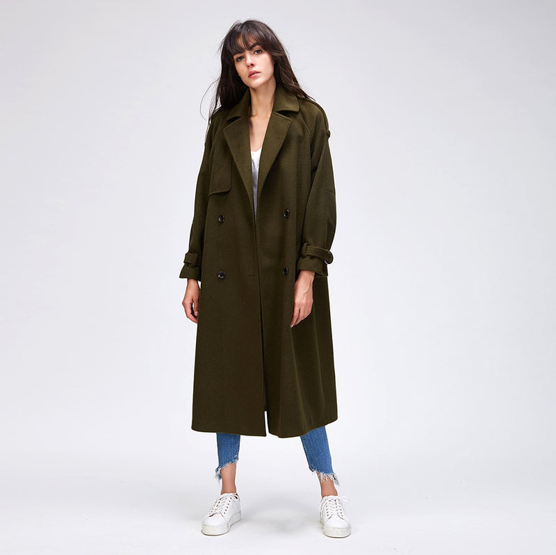 CASUAL WOOL BLEND TRENCH COAT