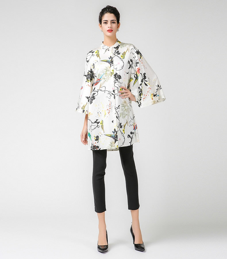 Plus Size Floral Silk  Blouse