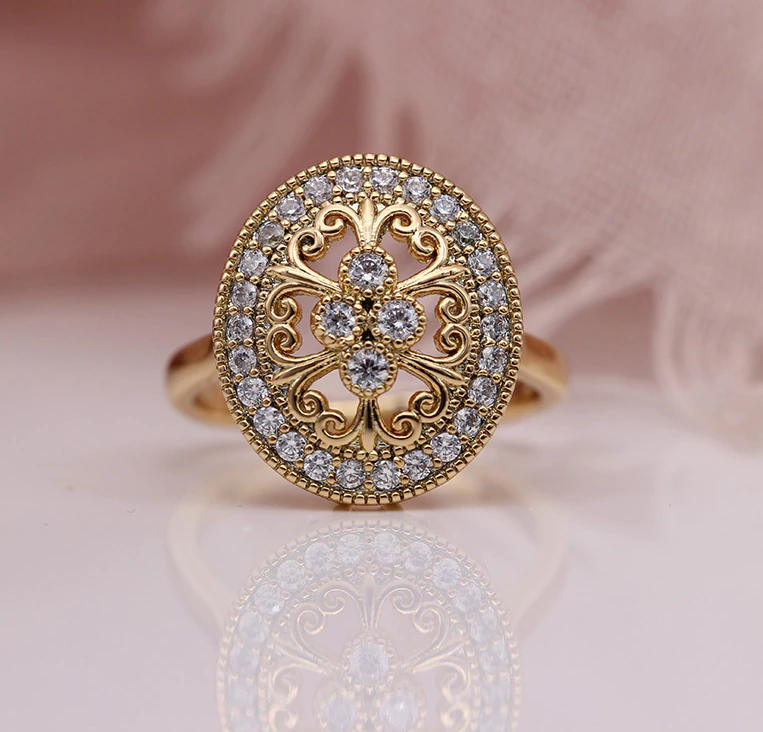 NATURAL ZIRCON FLOWER OVAL RING