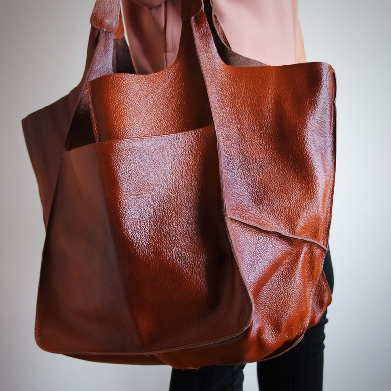 Large Cognac Leather Tote Bag