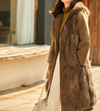 Real fox fur collar wool coat