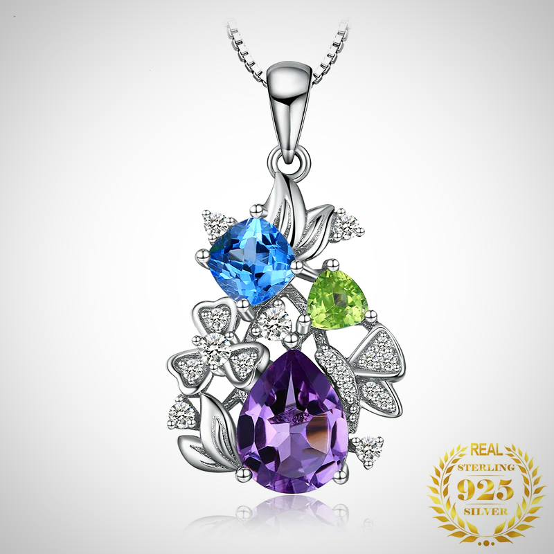 NATURAL AMETHYST PERIDOT TOPAZ PENDANT NECKLACE