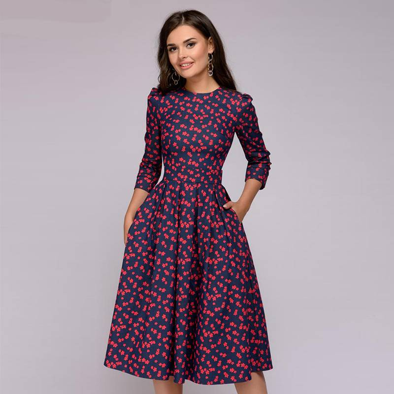 Plus Size Floral Patterned A - Line Dress