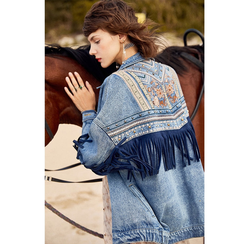 Denim vintage long sleeve  jacket