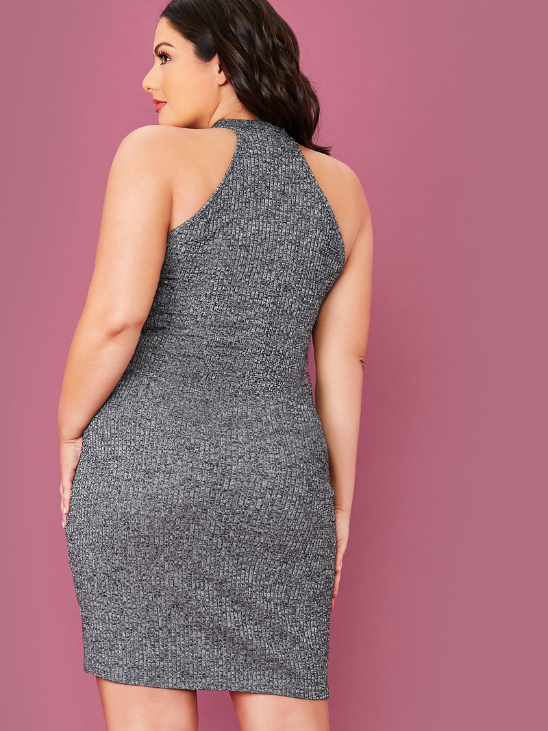 PLUS SOLID RIB-KNIT HALTER BODYCON DRESS