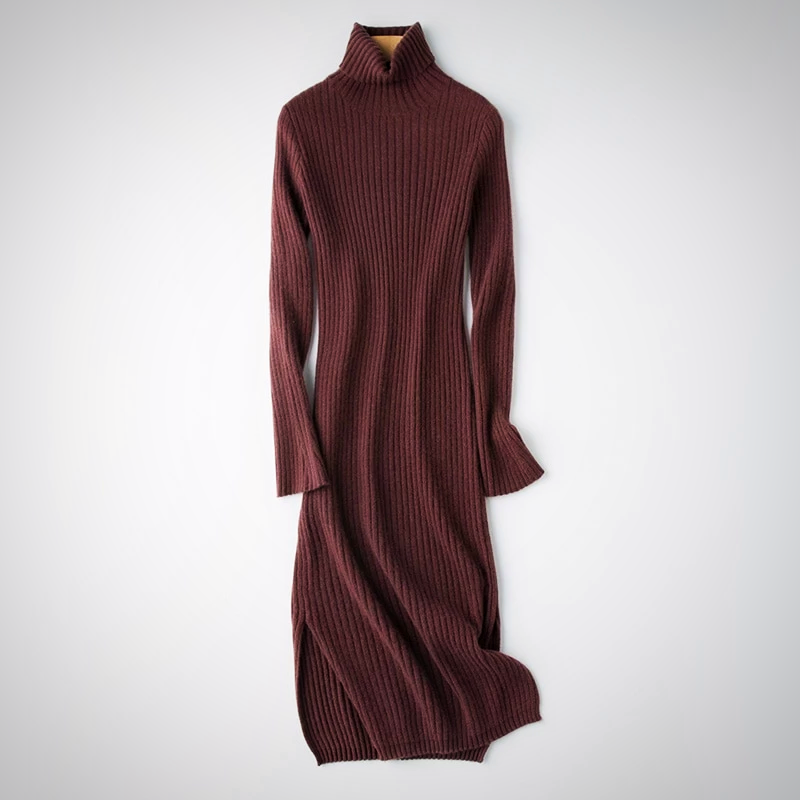 RIBBED SHEATH WINTER SWEATER LONG DRESS