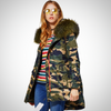 Plus size  Raccoon Fur Collar Parka Coat