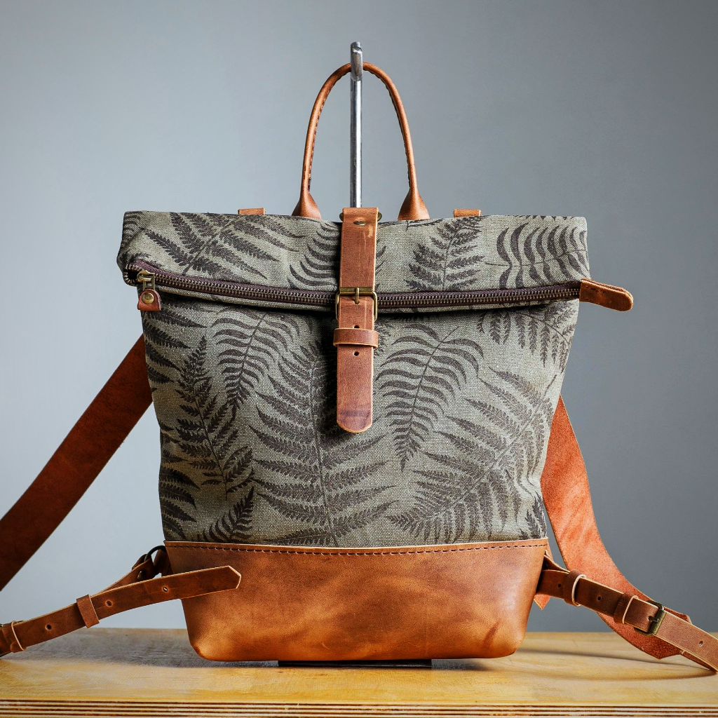 Vintage Block print canvas backpack