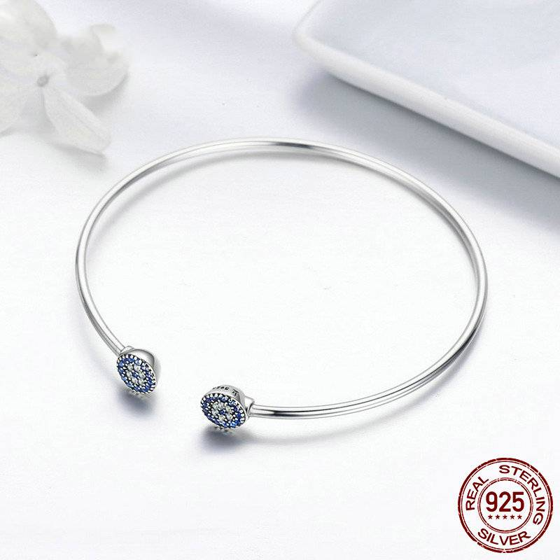 SILVER LUCKY BLUE EYE OPEN CUFF BRACELET