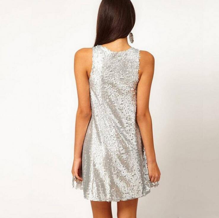 SHINNY SILVER SEQUINS PARTY DRESS