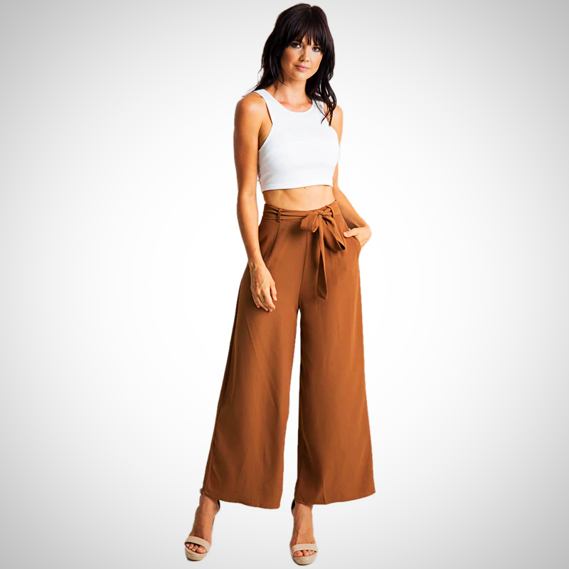 Casual Flare  Cut Wide Leg  capris Trousers
