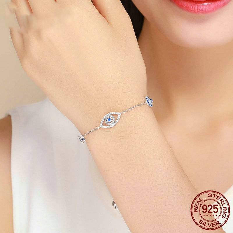 STERLING SILVER BLUE EYE BRACELET