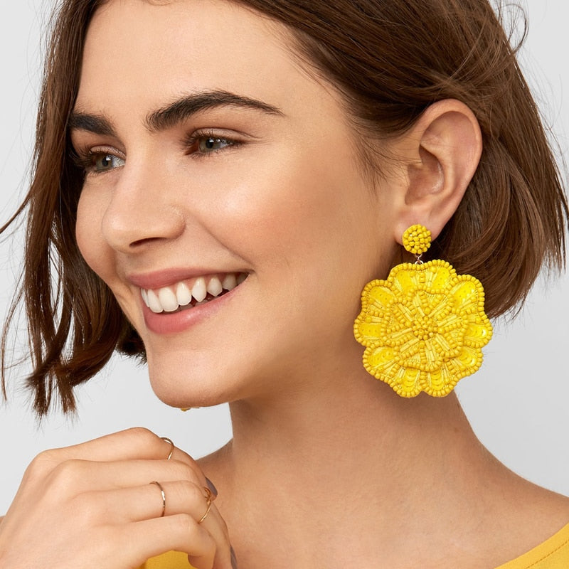 CRYSTAL TASSEL BEADS FLOWER EARRING