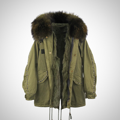 PARKA REAL FUR MILITARY HOODED COAT