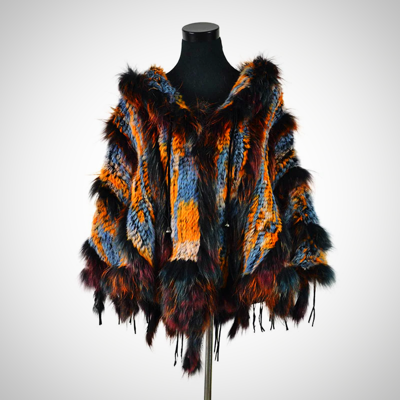 Stylish Colorful Long Sleeve Fur Winter Coat