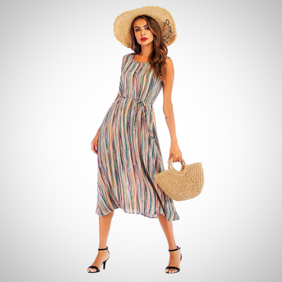 Casual Striped Bohemian Maxi Dress