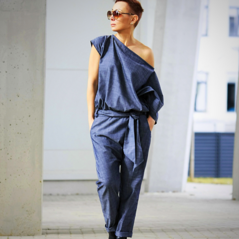 Linen drop crotch jumpsuit