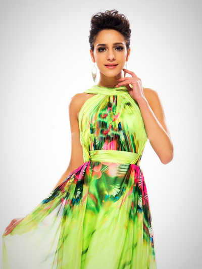 BACKLESS PRINTED SLEEVELESS PROM DRESS