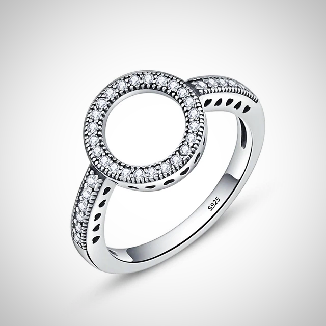 SILVER FOREVER CLEAR BLACK CZ CIRCLE RING