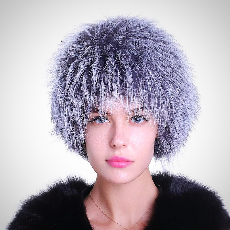 SILVER FOX FUR KNITTED CAP