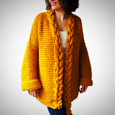 Open front chunky wool cardigan