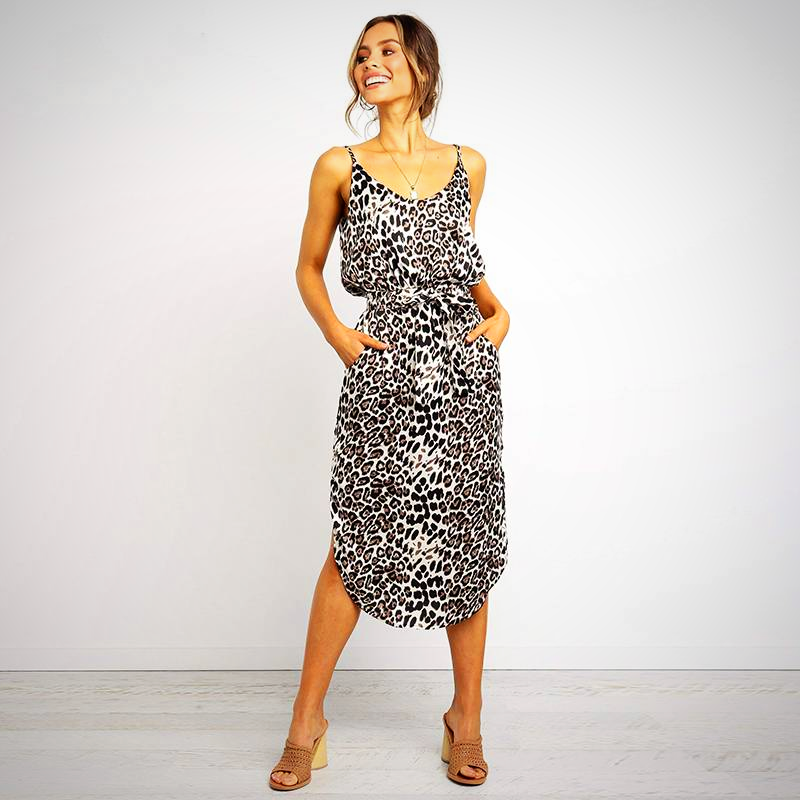 LEOPARD PRINTED LONG DRESS