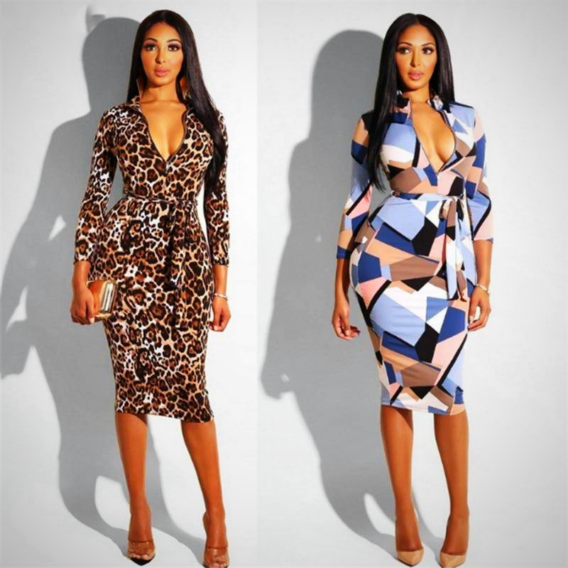 LONG LEOPARD PRINT PENCIL DRESS