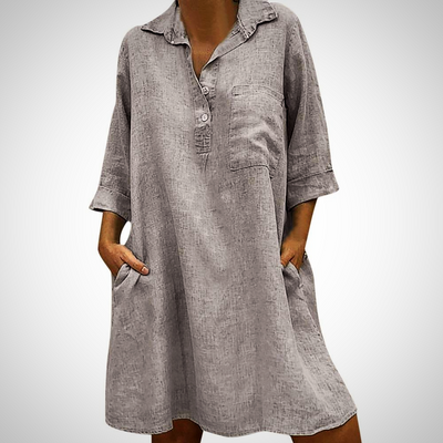Turn down Collar Casual Pocket Dress