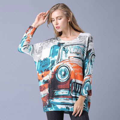 Casual Printed Vintage Sweater